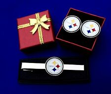 Pittsburgh Steelers Football Tie Bar & Cufflinks Gift Set