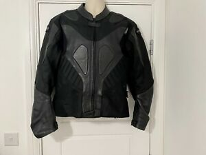 """Hunter Class Mens Black Part Leather Motorcycle Jacket Body Guard Size 44"""" Chest"""