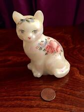 Fenton Hand Painted Sitting Cat Figurine Heart and Flowers Signed