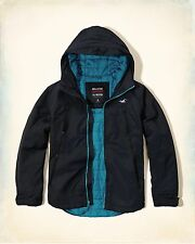 Hollister Mens Navy Turquoise All Weather Jacket Anorak Hooded Coat L XL BNWT