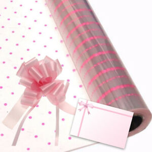 Pink Dot Cellophane Gift Wrap Birthday Flowers Hampers + Pull Bow & Bow Card