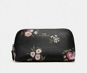 Coach Daisy Cosmetic Case 17 Tossed Daisy Black Pink F73019 Nwt