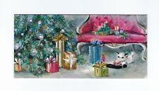 '60s Kitten Plays with Gifts Under Tree, PINK Sofa Vtg. HALLMARK Christmas Card