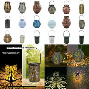 Kunst Blumen Schmiedeeisen LED Solar Projektion Lampe Hängende Laterne