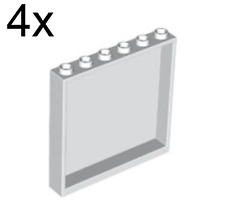 LEGO: Pack of 4 White 1X6X5 wall panels / elements ( 59349 ). New.
