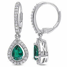 AMOUR Silver 1 7/8 Ct TGW Emerald and White Sapphire Charm Leverback Earrings