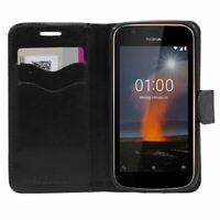 Coque Nokia Nokia 1 Etui Pochette Portefeuille Housse PU Cuir Porte-Cartes, Noir