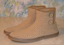 Men's wool crochet boots for the street, handmade shoes, slippers, rubber sole