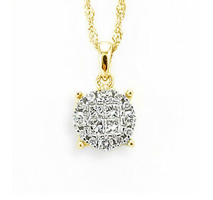 14K Yellow Gold Diamond Pendant Princess and Round Diamonds .25ct
