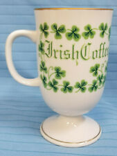 Irish Coffee Mug Latte Tea Cocoa Cup Container Shamrocks Green White