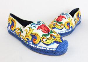 Dolce & Gabbana NWOB Blue White Multi Print Espadrille Flat Shoe 39 9