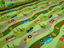 Stoff Baumwolle Jersey Autos Cars Traktor grün bunt Kinderstoff Kleiderstoff