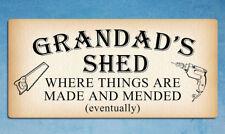 Metal signs GRANDADS SHED DIY funny mancave tin wall door plaques 20 x 9.5cm