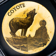 Longines Symphonette Endangered Wildlife Coyote Proof 24K Gold Plated Silver
