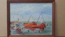Belle peinture à l 'huile scène marine naive signée