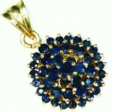 Vintage 2.00CT 14K Solid Gold Natural Round Cut Sapphire Engagement Necklace