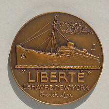 FRENCH LINE « LIBERTE » LE HAVRE / NEW YORK BRONZE MEDAL ART DECO