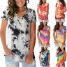Women V Neck Tie-dye T Shirt Summer Short Sleeve Casual Loose Tee Tops Blouse