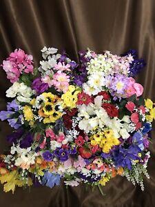 12 Artificial Spring Flower Bunches Joblot Fake Grave Posy Bush Crocus Iris Etc.