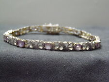 "HAN 925 Thai Sterling Silver 7.5"" Swirly 4.5 CTW Amethyst Link Diamond Bracelet"