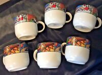 VITROMASTER METROPOLITAN 1991 LOT OF 6 FLAT CUPS NO SAUCERS VIVID COLORS & FACES