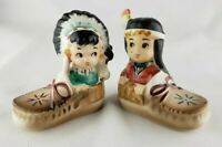 Vintage Two Children sitting in Moccasins-Salt & Pepper Shakers