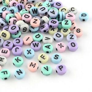 50 Letter Beads Alphabet Beads Pastel Bulk Beads Wholesale 7mm Flat Assorted Lot