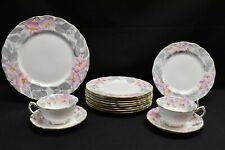 Royal Swansea Coalport Morning Glory Dinner Salad Plate Cup Saucer - 14 Pieces