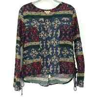 Anama Peasant Top Blouse Paisley Cotton Linen S Blue Green Pink Red Boho Shirt