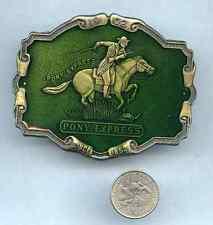 BELT BUCKLE Vintage PONY EXPRESS R J Brand Green Enamel Antique Brass