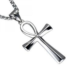Gold Silver Black Ankh Cross Symbol Of Life Stainless Steel Necklace Pendant