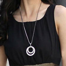 New Style Women Lady Double Crystal Long Chain Pendant Necklace All-match Gifts
