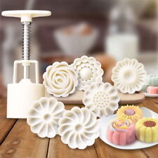 6 Style Stamps Round Flower Moon Cake Mold Mould White Set Mooncake Decor 50g