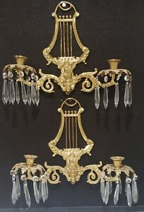 Vintage Federal Figural Brass and Crystal Prisms Lyre Candle Light Wall Sconces
