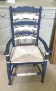 Old Carver Chair with rush seat - Painted in Annie Sloan Chalk Paint