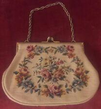 Vintage Needlepoint Floral Tapestry Bag Handbag Purse Clutch Floral Chain