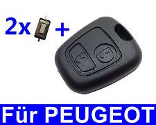 2T Schlüssel Gehäuse für Peugeot Citroen 106 206 207 306 307 406 806 + 2x Taster