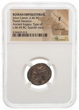 ROMAN IMPERATORIAL. Julius Caesar. 44 BC. AR Plated Denarius, NGC F
