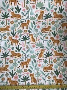 Floral Cheetah 100% Cotton Jersey Fabric - Per 1/2 Metre - Free Economy P&P
