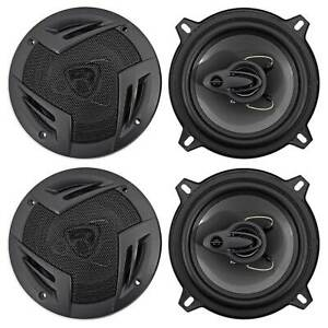"""(4) Rockville RV5.3A 5.25"""" 3-Way Car Speakers 1200 Watts/200 Watts RMS CEA Rated"""