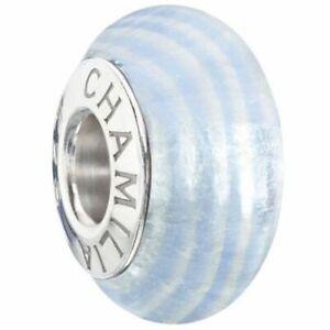 GENUINE CHAMILIA Ribbon Candy Murano Glass Charm Blue Ice