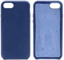 Genuine Cowhide Navy Blue Leather Cell Phone Case for iPhone 8 Plus