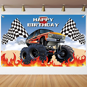 Monster Truck Party Supplies Racing Cars Birthday Banner Backdrop Transpotation