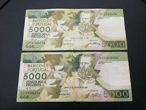 PORTUGAL 5000 ESCUDOS BANKNOTE 1987-1989