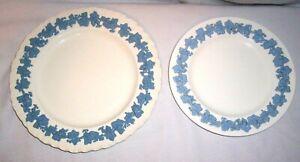 Vintage Wedgwood Etruria & Barlaston Queensware White Blue DINNER & SALAD PLATES