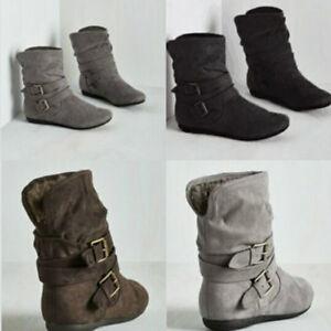 Women Winter Warm Suede Plush Lined Warm Fur Flat Short Ankle Boots Shoes Buckle