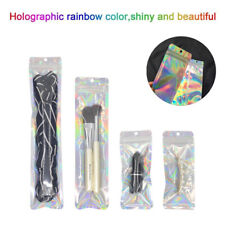 100X Iridescent Zip Lock Bags Laser Holographic LONG Pouch Cosmetic Package Bag