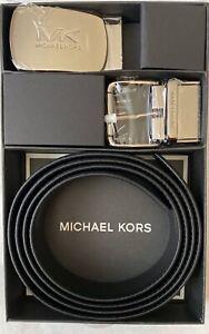 Michael Kors Men's Buckle Dress BELT Reversible Leather in Black/Navy