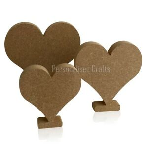 Free Standing MDF Wooden Heart on Stand Crafts/Valentine's 100mm 125mm 150mm