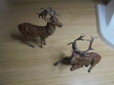 2 Antique Reindeer Deer Stag Figur Standing Laying Antlers Germany marked